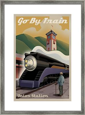 Vintage Union Station Train Poster Framed Print by Mitch Frey