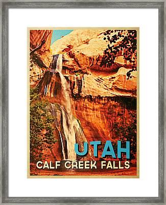 Vintage Utah Calf Creek Waterfall Framed Print by Flo Karp