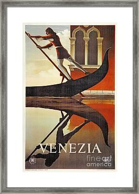 Vintage Venice Italy Travel Advert Gondola Framed Print by Heidi De Leeuw