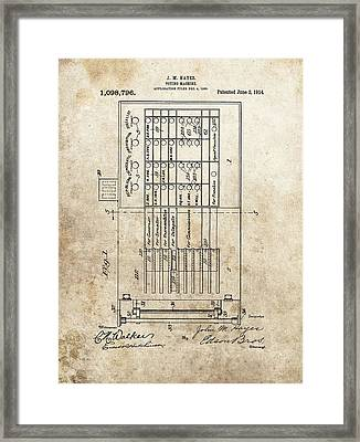 Vintage Voting Machine Patent Framed Print by Dan Sproul