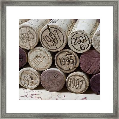 Vintage Wine Corks Square Framed Print by Frank Tschakert