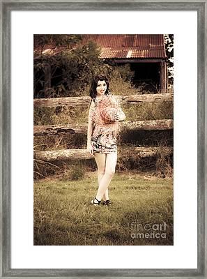 Vintage Woman In Farmyard Field Framed Print by Jorgo Photography - Wall Art Gallery