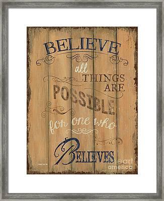 Vintage Wtlb Believe Framed Print by Debbie DeWitt