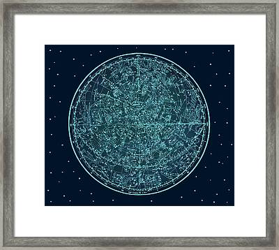 Vintage Zodiac Map - Teal Blue Framed Print by Marianna Mills