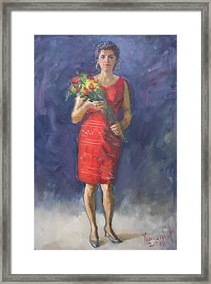 Viola In Red Framed Print by Ylli Haruni