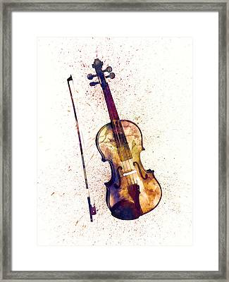 Violin Abstract Watercolor Framed Print by Michael Tompsett