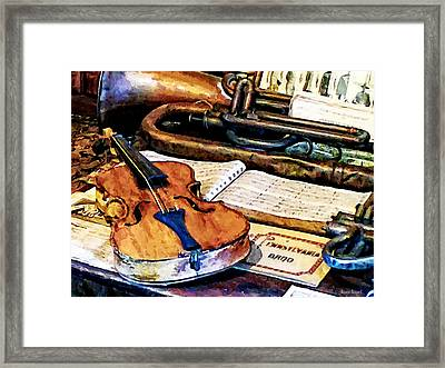 Violin And Bugle Framed Print by Susan Savad