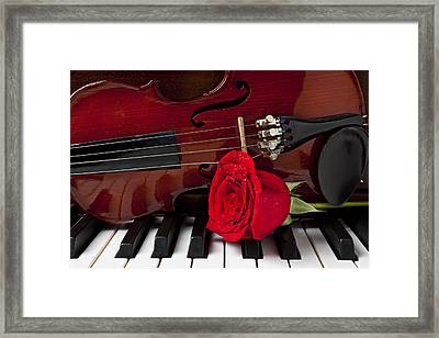 Violin And Rose On Piano Framed Print by Garry Gay
