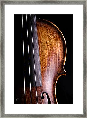 Violin Isolated On Black Framed Print by M K  Miller