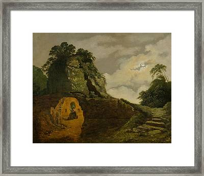 Virgil's Tomb By Moonlight, With Silius Italicus Framed Print by Joseph Wright