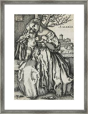 Virgin And Child With A Parrot Framed Print by Hans Sebald Beham