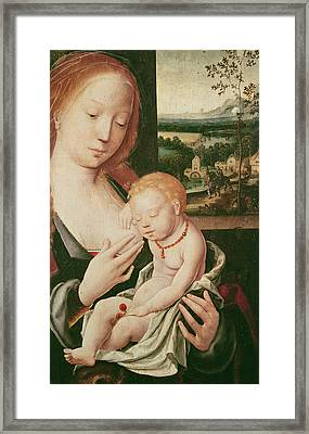 Virgin And Sleeping Child Framed Print by Joos van Cleve