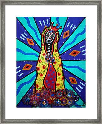 Virgin Guadalupe Day Of The Dead Framed Print by Pristine Cartera Turkus