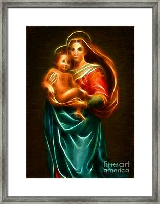 Virgin Mary And Baby Jesus Framed Print by Pamela Johnson