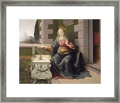 Virgin Mary, From The Annunciation Framed Print by Leonardo Da Vinci