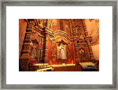 Virgin Mary Statue Candles Mission San Xavier Del Bac Framed Print by Thomas R Fletcher