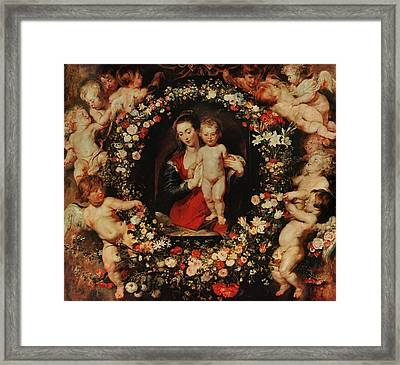 Virgin With A Garland Of Flowers Framed Print by Peter Paul Rubens