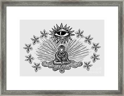 Visionary Art Spiritual Art When I Look At You With Your Eyes Monk, Eyes, Star, Third Eye Framed Print by Paul Telling