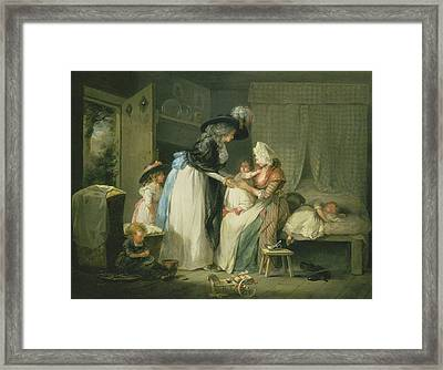 Visit To The Child At Nurse Framed Print by George Morland