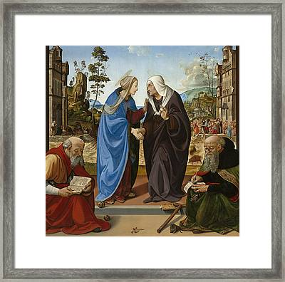 Visitation With Saint Nicholas And Saint Anthony Framed Print by Piero di Cosimo