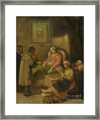 Visiting A Sick Woma Framed Print by Frans Francken