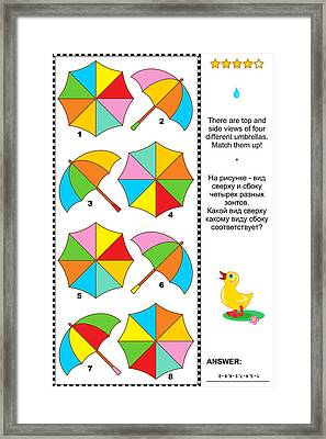 Visual Puzzle With Top And Side Views Of Umbrellas Framed Print by Natalia Ratselmeister