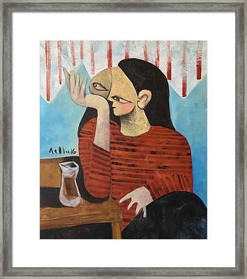 Vitae Woman Drinking Tea Framed Print by Mark M Mellon