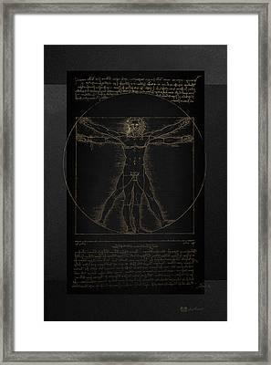 Vitruvian Man By Leonardo Da Vinci In Gold On Black Framed Print by Serge Averbukh