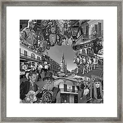 Vive Les French Quarter Monochrome Framed Print by Steve Harrington