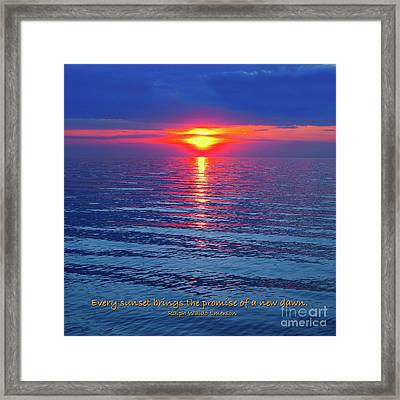 Vivid Sunset - Emerson Quote - Square Format Framed Print by Ginny Gaura