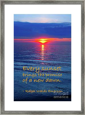 Vivid Sunset With Emerson Quote Framed Print by Ginny Gaura