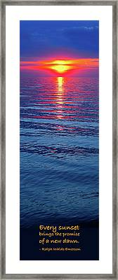 Vivid Sunset With Emerson Quote - Vertical Format Framed Print by Ginny Gaura
