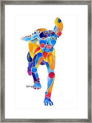Vizsla Running  Framed Print by Jo Lynch