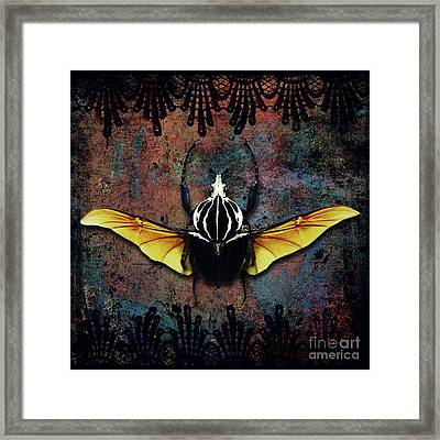 Vlad Tepes Insectus, Winged Beetle, Gothic Theme Framed Print by Tina Lavoie