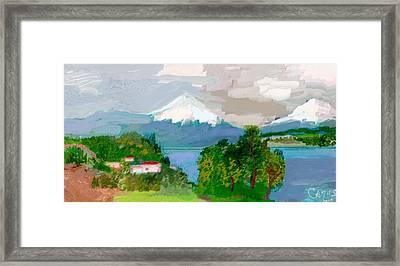 Volcanes Sur De Chile Framed Print by Carlos Camus