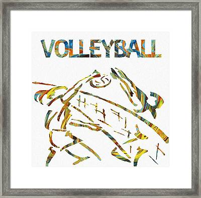 Volleyball Paint Poster Framed Print by Dan Sproul