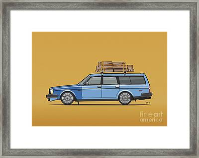 Volvo 245 Brick Wagon 200 Series Blue Shopping Wagon Framed Print by Monkey Crisis On Mars