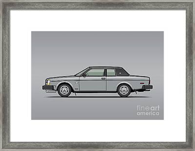 Volvo 262c Bertone Brick Coupe 200 Series Silver Framed Print by Monkey Crisis On Mars