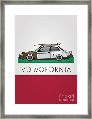 Volvofornia Slammed Volvo 242 240 Coupe California Style Framed Print by Monkey Crisis On Mars