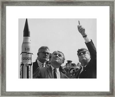 Von Braun And Jfk Looking Towards The Sky Framed Print by War Is Hell Store