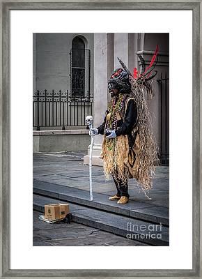 Voodoo Man In Jackson Square - Nola Framed Print by Kathleen K Parker