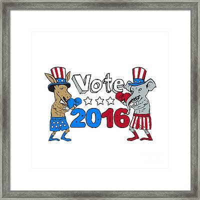 Vote 2016 Donkey Boxer And Elephant Mascot Cartoon Framed Print by Aloysius Patrimonio