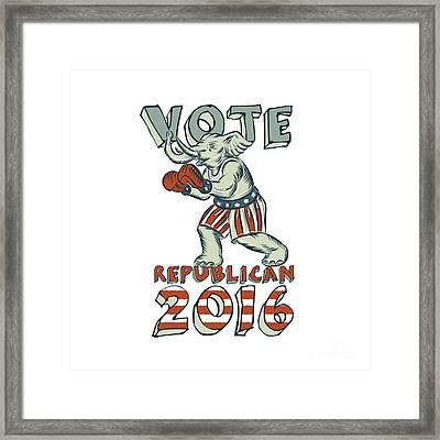 Vote Republican 2016 Elephant Boxer Isolated Etching Framed Print by Aloysius Patrimonio