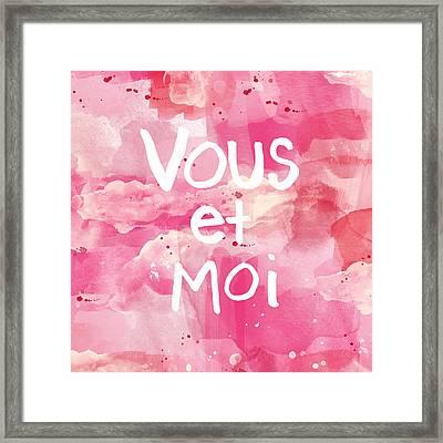 Vous Et Moi Framed Print by Linda Woods