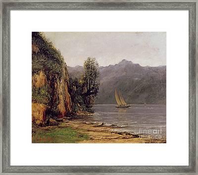 Vue Du Lac Leman Framed Print by Gustave Courbet