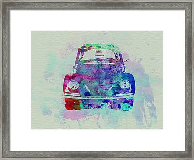 Vw Beetle Watercolor 2 Framed Print by Naxart Studio