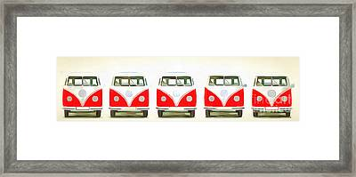 Vw Bus Line Up Painting Framed Print by Edward Fielding