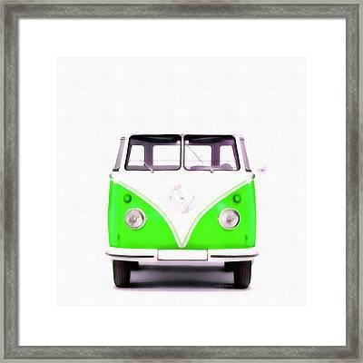 Vw Van Green Painting Framed Print by Edward Fielding