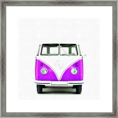Vw Van Purple Painting Framed Print by Edward Fielding
