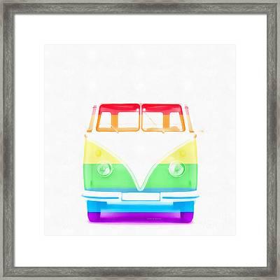 Vw Van Rainbow Framed Print by Edward Fielding